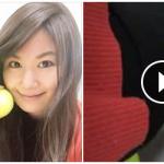 テニスボールで休憩中のセルフメンテ♪(おなかちゅーにんぐ 佐原愛友様)